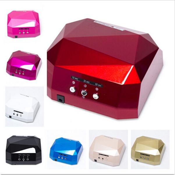 LED uv lamp 36 w 110-220V gel nail machine dry nails Diamond Shaped Best Curing Nail Dryer for UV Gel Nail EU,US Plug(China (Mainland))
