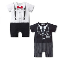 2016 White Baby Body suits Tuxedo Boys Rompers Gentleman Baby Clothes Short Sleeve Cotton rompers