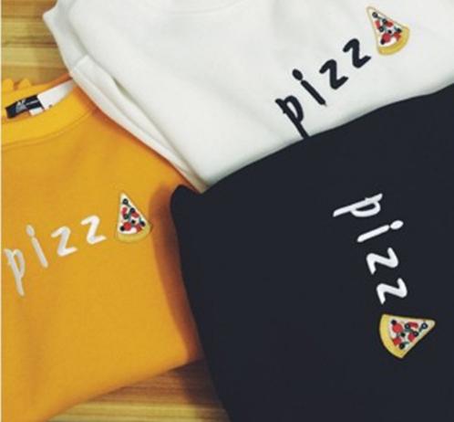2015 Harajuku New Design Pizza Embroidery Sweatshirt O-neck three-colour Lovely Sweatshirt Free shipping(China (Mainland))