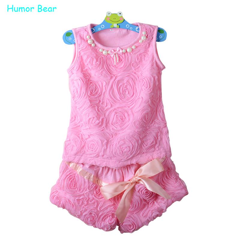 Humor Bear High quality New casual baby girls set Lace Kid Girl Clothes Set T Shirt +shorts Pants Children Clothing Set s(China (Mainland))