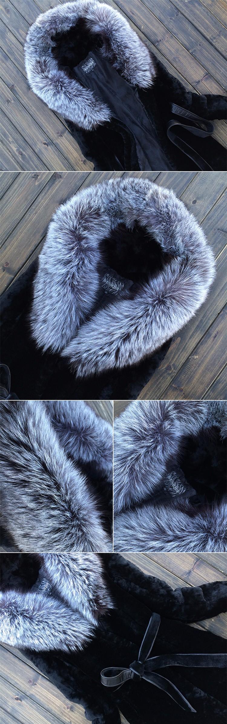 2016 Women's Winter Fur Coat Female Outwear Top Artificial Rabbit Fur Jacket With Fur Collar Long Design Thick Warm Size S-6XL