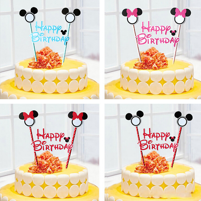 1pcs mickey mouse theme happy birthday flag with paper straw cupcake cake topper birthday cake accessories party supplies(China (Mainland))
