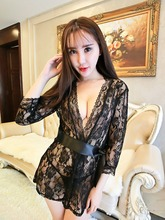 New transparent Sexy lingerie intimates women robes female women's lace sexy sleepwear bathrobes spring and summer lingerie sets