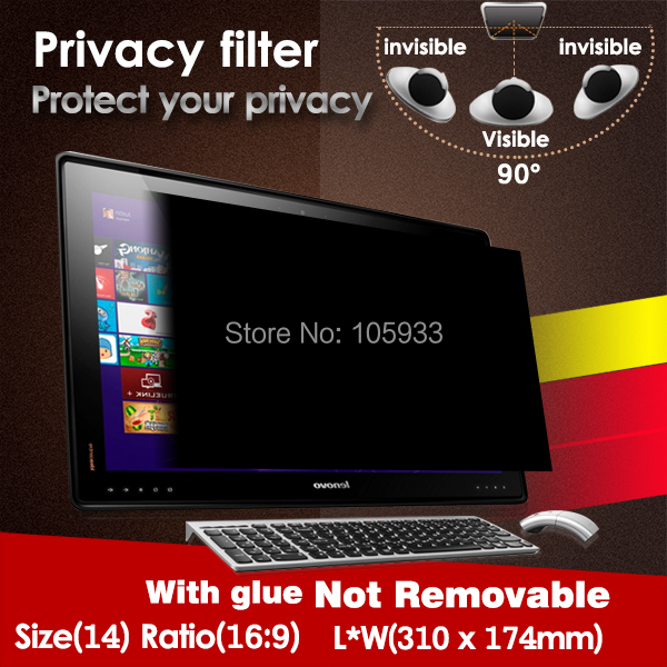 Privacy Filter 14 Inch 16:9 310mm*174mm Anti-spy Screen Protector Screen Guard WITH Glue For Computer Laptop ATM LCD 1pc/lot(China (Mainland))