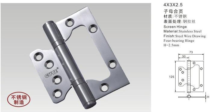 Wholesale Hardware Door fittings 4inch 250g Door hinges Muffler 304 Stainless steel door Door butt hinges 6pcs/lot Free shipping(China (Mainland))