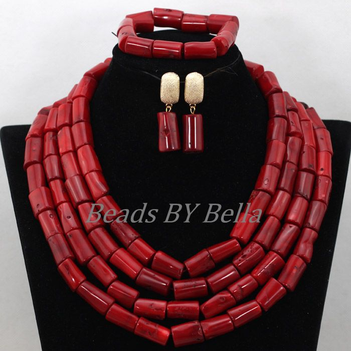 Marvelous Big Full Beads Red Coral African Wedding Jewelry Nigerian Costume Necklace Bridal Jewelry Sets Free Shipping ABK293<br><br>Aliexpress