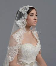 2016 Cheap In Stock White/Ivory Bridal Veils Lace Tulle Appliques Length 80 cm Short Bridal Veil Hot Sale Wedding Accessories(China (Mainland))