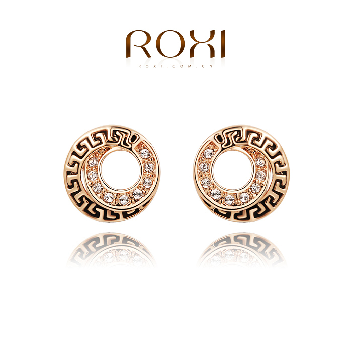 ROXI Brand Free Shipping Retro Coin Earrings Best Gift For Girlfriend Stud Earrings Fashion For Women Party Wedding 2020021260(China (Mainland))