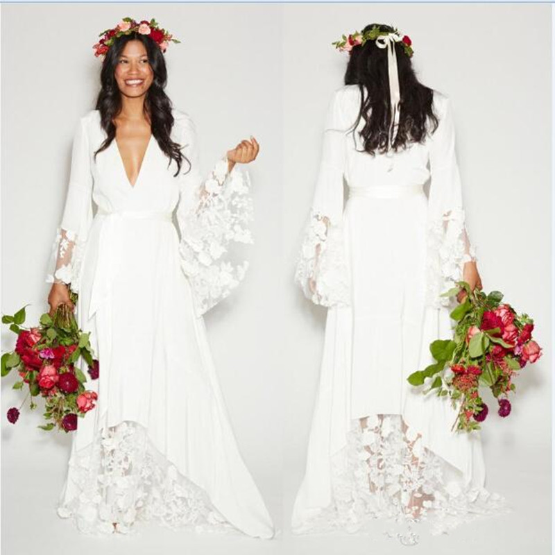 2016 beach boho wedding dresses bohemian style hippie for Bohemian white wedding dress