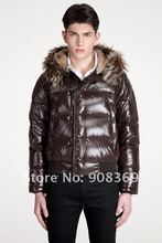 Brown and Black colors Bulgarie down jacket for men ,down coats  Material object photography