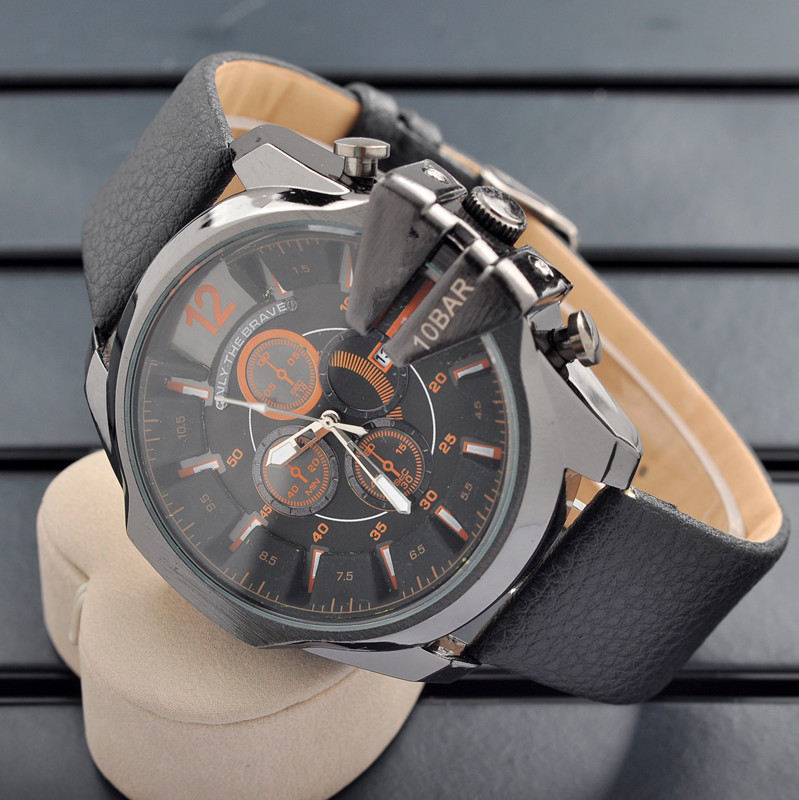 DS personality cool boys calendar quartz watch market watch outdoor sports watch leather hip hop table(China (Mainland))