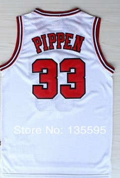 Wholesale Cheap Sale #33 Scottie Pippen Men's White/Red/Black 2014 New fabric Basketball jersey,Embroidery logos,Free Shipping(China (Mainland))