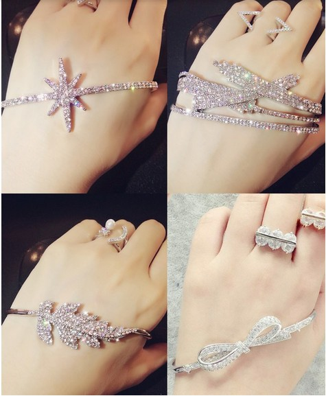 2015 france monaco fashion designer brand jewelry leaf star snowflake geometry hand palm cuff charm bangle for women accessories(China (Mainland))