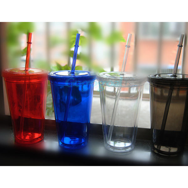 Smoothie Iced Coffee Juice Plastic Drinks Cup With Straw Party Liquid Beaker Lid(China (Mainland))