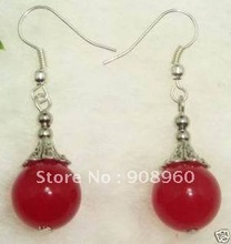 Wholesale  tibet silver Round red Jade earring 20pc/lot fashion jewelry #08(China (Mainland))