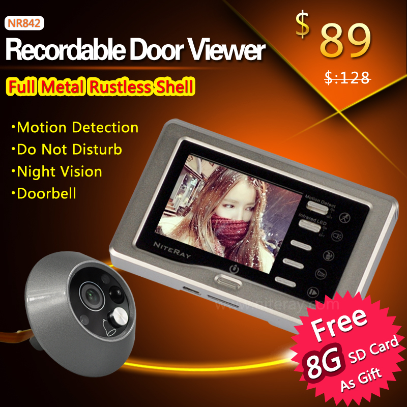 Full Aluminum Case 3 0 inch Camera Video Door Bell Video Eye with Motion Detect and