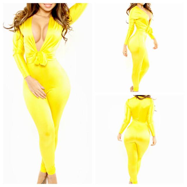 Elegant Womens Deep V Neck Sleeveless High Waist Wide Leg Jumpsuit Yellow