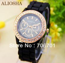 Aliosha 2015 nueva moda 14 colores Rhinestone ginebra del reloj del Gel de silicona Crystal bandas reloj de pulsera mujeres del diamante del oro relojes