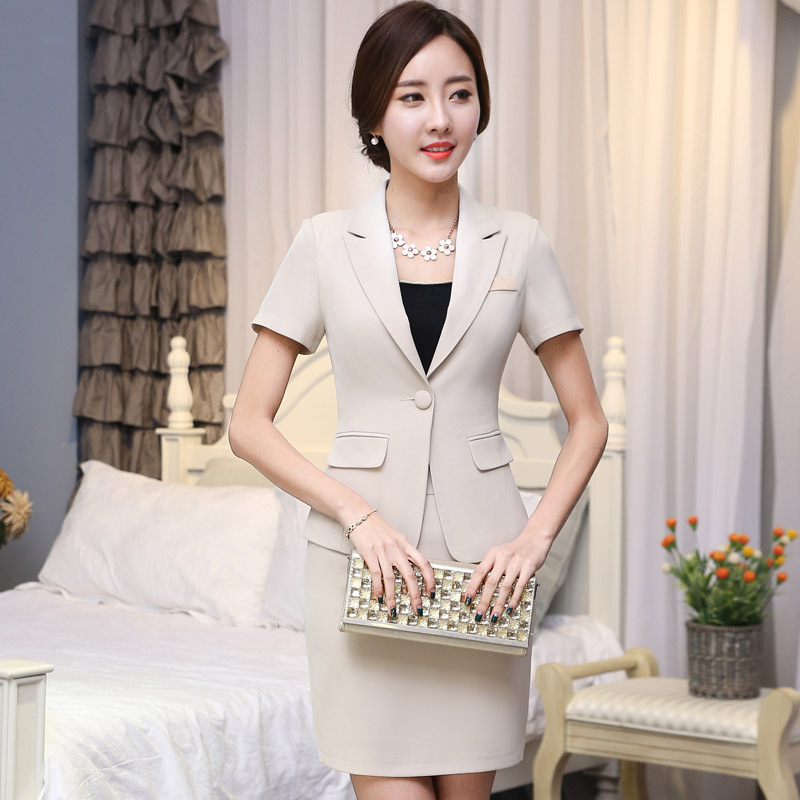 Womens business slim blazer suits with skirts 2015 design for Office uniform design 2015