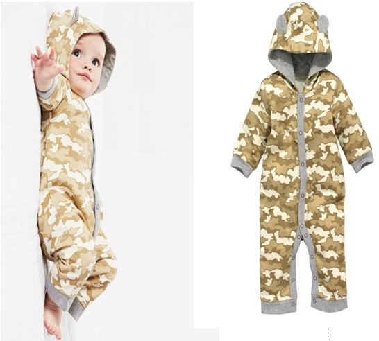 2014 Lovely baby boys long sleeve printed rompers spring children casual clothes infant jumpers kids camouflage hooded rompers<br>