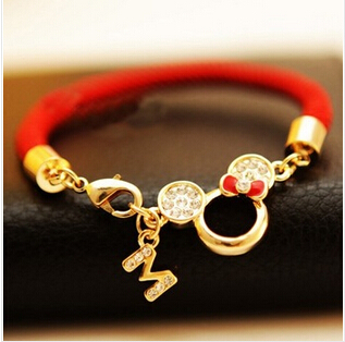 new 2016 crystal bead handmade mickey mouse braided rope red bracelets for women fashion jewelry bijoux(China (Mainland))