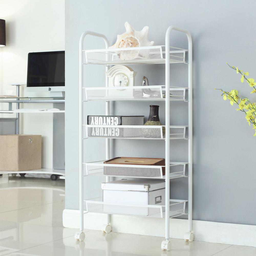 LANGRIA 5-Tier Metal Mesh Rolling Cart Space-Saving Storage Rack Shelving for Kitchen Office Bedroom Bathroom Washroom Laundry(China (Mainland))