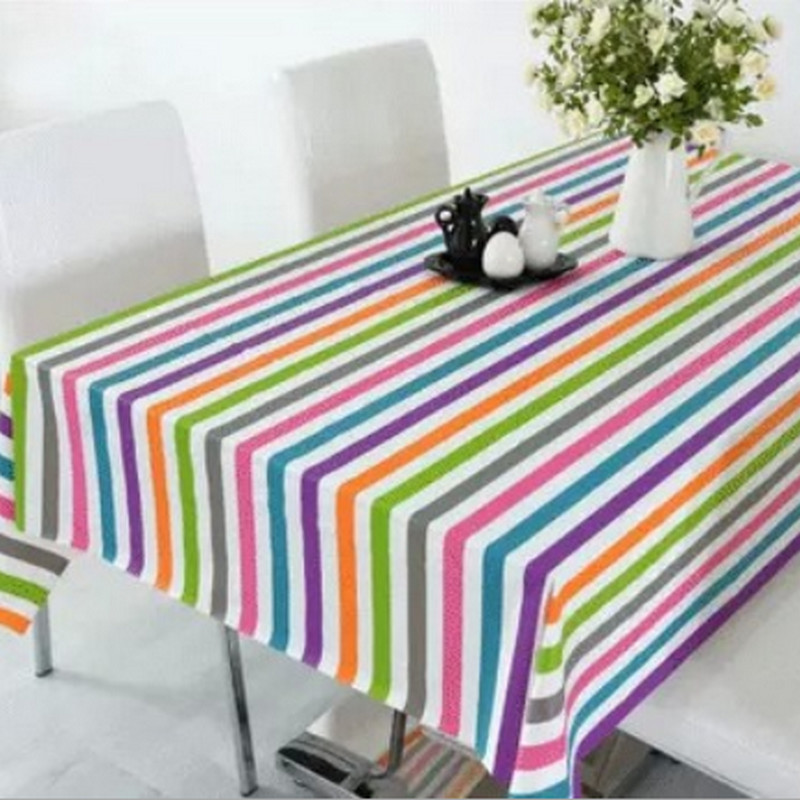 New PVC Kitchen Plastic Table Cover Colorful Stripes Print Style Round Cafe Tablecloth Wedding Party Mantele Home Table Cloth(China (Mainland))