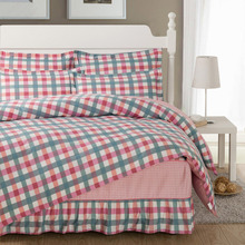 Scotland design bedding sets,100% cotton 4pc fitted type bed sheet set,Lattice fresh type duvet cover bed skirt sheet sets