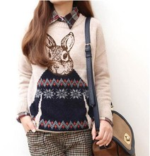 New winter&autumn Women's Knitted Sweater/fashion Ladies' rabbit pattern pullovers tops/preppy chic sweater Outerwear Blouse/WTB(China (Mainland))
