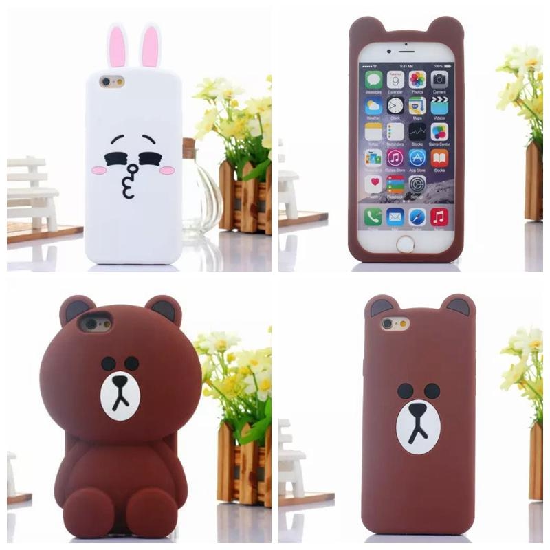 Cartoon Line Brown bear Cony moon rabbit Soft silicon Rilakkuma Bear case For iPhone 5s case Free Shipping(China (Mainland))