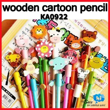 WHOLESALE 60pcs Pencil Wooden HB Student Prize Children Office Cartoon Cute Promotion Kids Gift Stationery Say Hi 0922