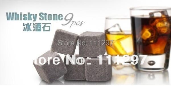 9pcs/set,Whisky stones with velvet bag whiskey rock stone Great gift Freeshipping+Wholesale