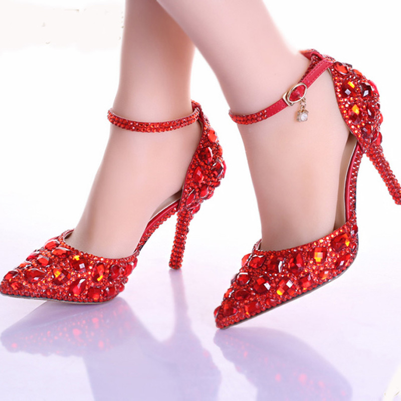 Handmade Red Rhinestone Bridal Shoes Sexy Pointed Toe Bridesmaid Shoes Red Crystals Women High Heel Prom Party Valentine Shoes(China (Mainland))