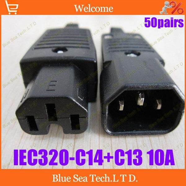50 пар выходных разъемов iec320-С14+С13 Разъем кабеля питания мужской и женский,вилка С14 ИБП,БРП мощность съемный разъем+разъем 10А/250В