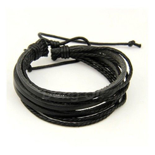100 hand woven Fashion Jewelry Wrap multilayer Leather Braided Rope Wristband men bracelets bangles for women