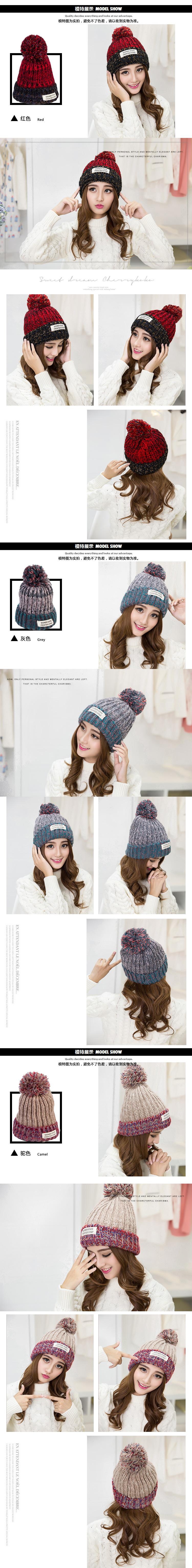 Kesebi 2017 New Hot Fashion Women Koream Winter Labeling Patchwork Caps Hats Female Thick Warm Knitting Casual Skullies Beanies