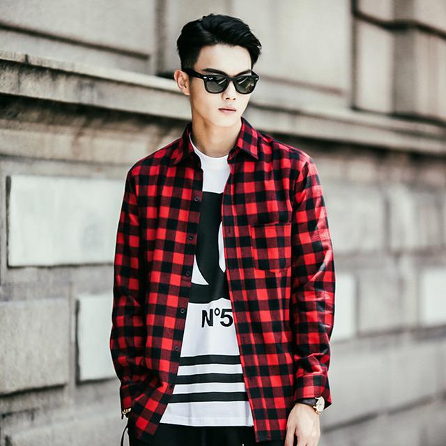 buy new fashion men shirt 2015 flannel