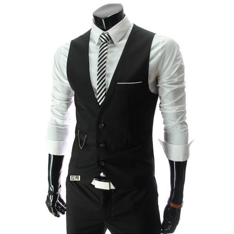 2016 New Lowest Price Men's Vests Hot Sale / Men's suits vest Autumn Male Casual Slim V-neck Vest Business Suit Vests business(China (Mainland))
