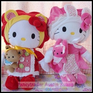 Fancytrader S Size 2 PCS/LOT Limited Edition SANRIO Plush Stuffed Female Hello Kitty Pink Color with a bear(China (Mainland))