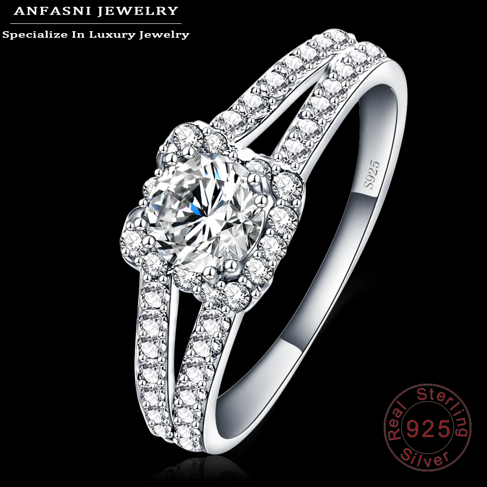 ANFASNI New 2016 Wedding Rings 100% 925 Sterling Silver Ring Clear Zircon Jewelry For Ladies Anillos SRI0003-B(China (Mainland))