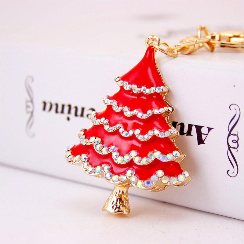 Unique Enamel Christmas Tree Crystal HandBag Keyrings Key Holder Chains Purse Bag For Car Rhinestone Keychains K247(China (Mainland))