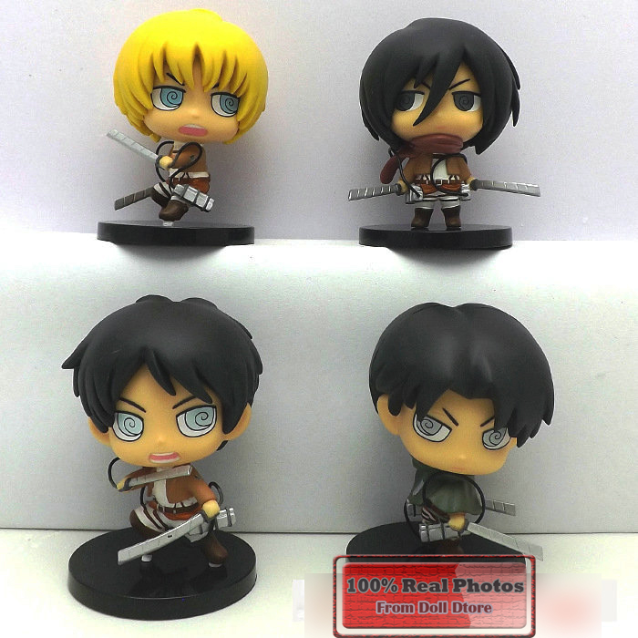 8cm 4pcs/lot PVC Japanese anime figure Q version Attack on Titan action figure collectible model toys for boys(China (Mainland))