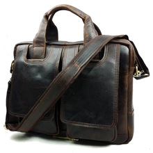 2016 hot Men's leather handbags Vintage Genuine leather briefcase laptop Shoulder bags Causal Crazy horse leather crossbody bags(China (Mainland))