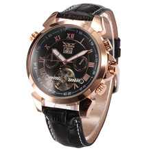 JARAGAR Men's Auto Mechanical Golden Case Flying Tourbillon Vogue Watch Relogio Masculino Male Wristwatch Montre