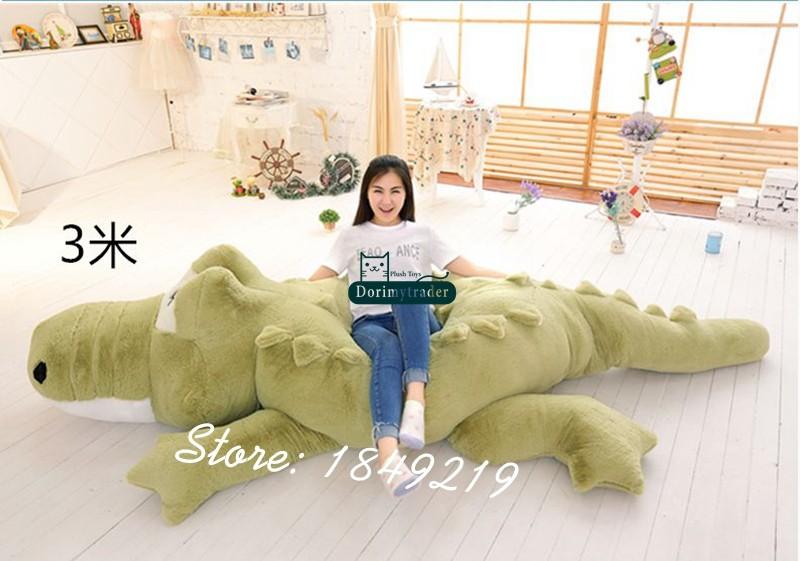 Dorimytrader Biggest 118\`\` 300cm Jumbo Crocodile Toy Plush Soft Stuffed alligator Sofa Tatami Free Shipping DY61038 (5)