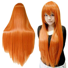 Women's Orange Wig Long Hair Wigs With Bangs Wig Cosplay Straight Wig HB88(China (Mainland))