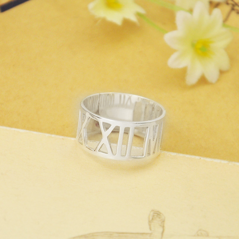 Personalized Roman Numeral Ring, Custom Numeral Ring, 925 silver Date Ring, Roman Numeral jewelry, Anniversary Date Ring(China (Mainland))
