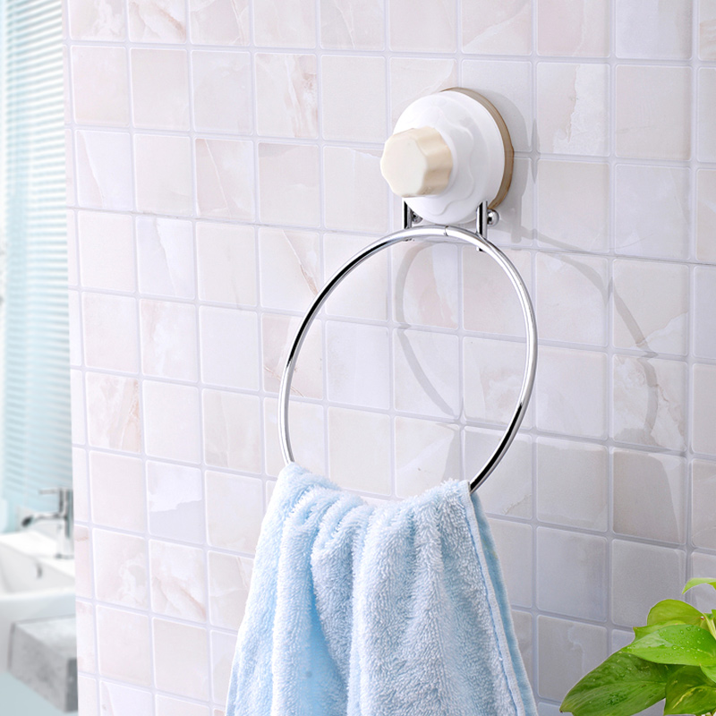 Dual Use Sucker Towel Ring Bathroom Towel Rack Metal Towel Hanging