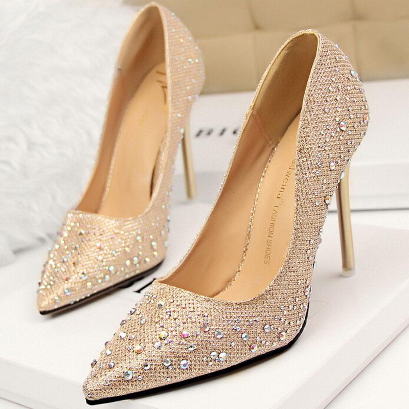 2016 Newest Fashion Sexy Women Silver Rhinestone Wedding Party Pumps High Heels Crystal Shoes(China (Mainland))
