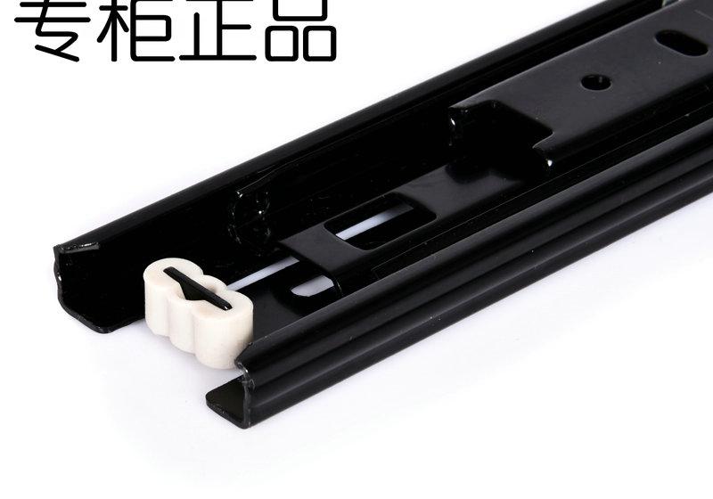 Cabinet drawer track three track rail drawer slide mute slide ball thickening